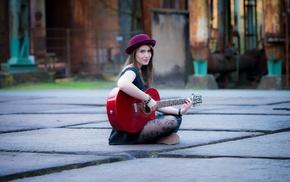 tiles, street, dress, sitting, playing, girl