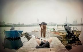 guitar, brunette, reflection, girl, long hair, tiles