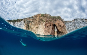 rock, landscape, split view, waves, sea, blue