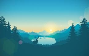 gradient, sunrise, artwork, lake, landscape, vectors