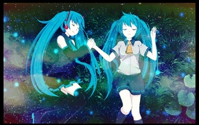 Hatsune Miku, blue hair, anime, closed eyes, twintails, Vocaloid