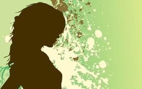 digital art, silhouette, girl, paint splatter