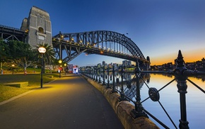 Australia, reflection, architecture, lights, Sydney, water