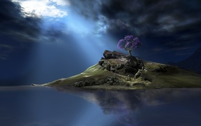 sunlight, clouds, nature, landscape, rock, CGI
