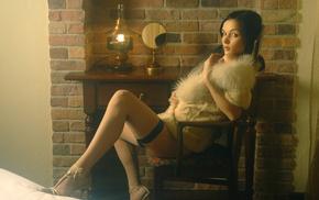 long hair, fur, chair, bedrooms, Jenya D, girl