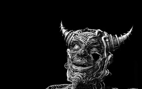 digital art, black background, face, wires, monochrome, horns