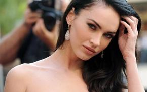 face, actress, brunette, Megan Fox, blue eyes