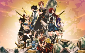 Dragneel Natsu, Gajeel Redfox, Happy Fairy Tail, Fullbuster Gray, Marvell Wendy, Fairy Tail
