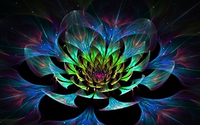 abstract, glowing, colorful, digital art, fractal flowers