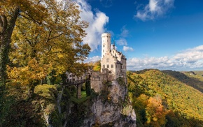 castle, trees, nature, architecture, Germany, tower