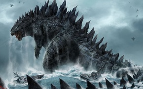 water, dinosaurs, sea, digital art, creature, Godzilla