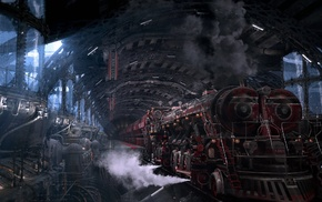 pipes, technology, fantasy art, train station, metal, steam locomotive