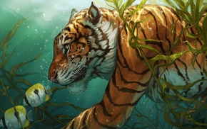 underwater, tiger, artwork, animals, fish, bubbles