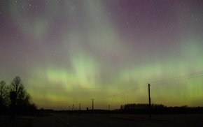 utility pole, night, aurorae, power lines, stars