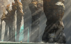 sun rays, How to Train Your Dragon 2, rock formation, concept art, ship