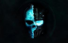 gas masks, goggles, blue background, futuristic, minimalism, skull
