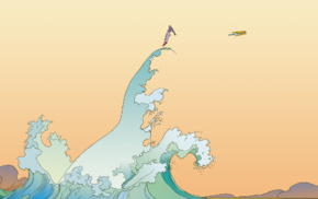 artwork, comics, waves, Mbius
