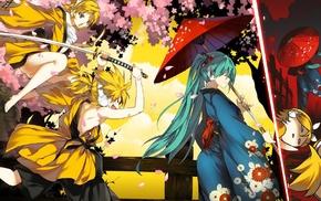 Vocaloid, kimono, Kagamine Rin, Kagamine Len, Hatsune Miku