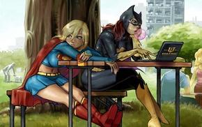 Batgirl, Supergirl, national park, trees, chair, laptop