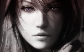 lightning, Final Fantasy, eyes, girl, purple eyes, digital art