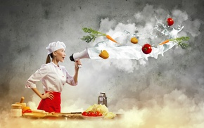 skirt, photo manipulation, Asian, plates, kitchen, cook