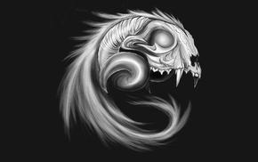 gray background, teeth, animals, monochrome, horns, skull