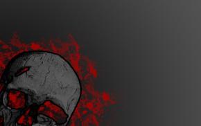 artwork, skull, red, splashes, gray background, digital art