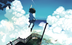 clouds, sky, heights, anime girls, sea, original characters