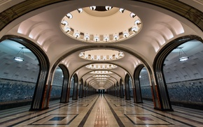 lights, arch, train station, Russia, circle, metro