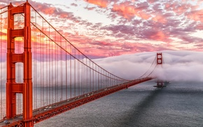 architecture, clouds, Golden Gate Bridge, California, sea, bridge