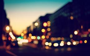 bokeh, city, blurred