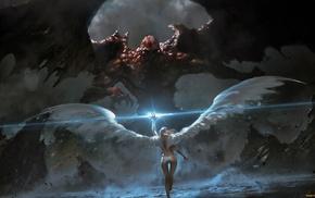 angel, painting, wings, demon