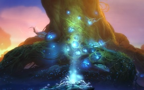glowing, Ori and the Blind Forest, roots, fantasy art