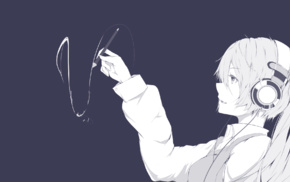 Vocaloid, anime girls, headphones, Hatsune Miku, twintails
