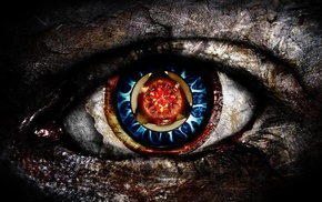 circle, red eyes, creativity, blue eyes, digital art
