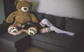 open mouth, black clothing, closed eyes, couch, model, teddy bears
