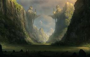 digital art, statue, valley, fantasy art, mountain
