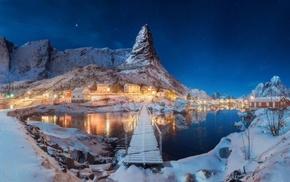 winter, nature, landscape, night, lake, Norway