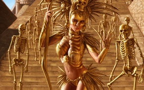 Aztec, artwork, fantasy art, skeleton