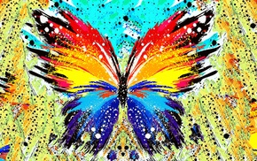 paint splatter, butterfly, abstract