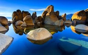 rock, landscape, hill, underwater, calm, water