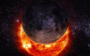 solar eclipse, Sun, universe, space, moon, stars