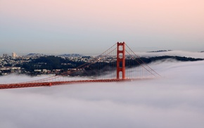 cityscape, bridge, Golden Gate Bridge, San Francisco, mist