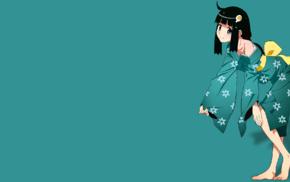 Araragi Tsukihi, ribbon, simple background, smiling, kimono, anime