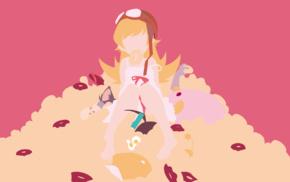 anime vectors, anime, anime girls, donut, minimalism, Oshino Shinobu