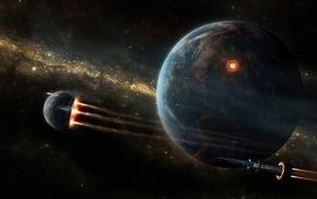 stars, spaceship, space, planet