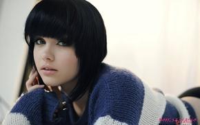 girl, brunette, model, sweater, Melissa Clarke