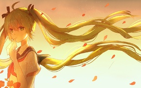 anime girls, Vocaloid, ribbon, flower petals, twintails, Hatsune Miku