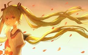 anime girls, Vocaloid, ribbon, flower petals, twintails, Hatsune Miku