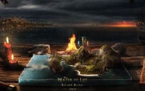 candles, elements, boat, life, books, barrels